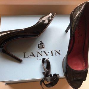 Lanvin Patent Open Toe Heels